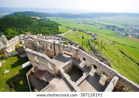 Yard of Spissky Hrad castle, Slovakia - stock photo