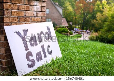 Yard sale sign - stock photo