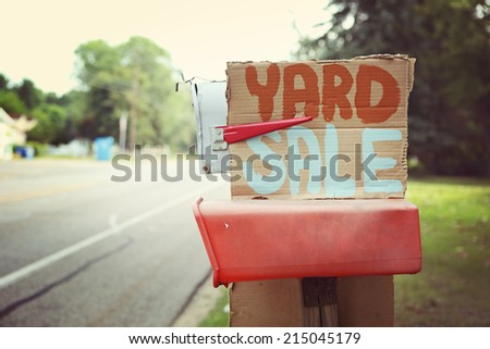 Yard Sale sign on a mailbox - stock photo
