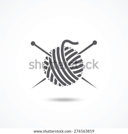 Yarn ball and needles icon - stock photo