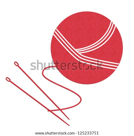 yarn ball with needles isolated on White background - stock photo