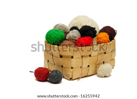 yarn balls in the basket - stock photo