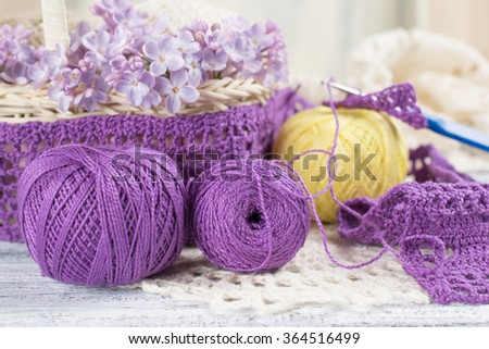 Yarn for crochet and knitted openwork napkins with lilac