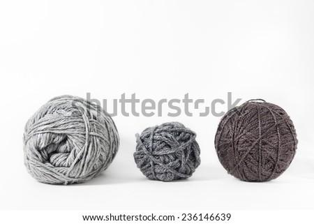 Yarn of wool isolated on white background - stock photo