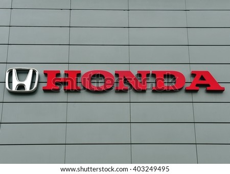 YAROSLAVL, RUSSIA - APRIL 9, 2016: Logotype of Honda corporation on April 9, 2016. Honda is the japanese automotive manufacturer.