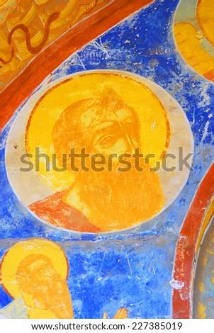 YAROSLAVL, RUSSIA - AUGUST 10, 2014: Interior of the Church of Saint Nicolas in Yaroslavl (Russia) famous by its original frescoes. - stock photo