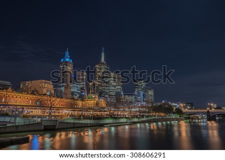 Yarra River and Flinders Street Station at Twilight time, The color of  Melbourne Australia.   - stock photo