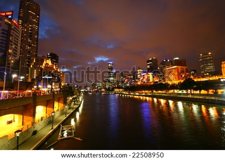 Yarra river at night (Melbourne, Australia) - stock photo