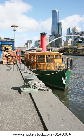 Yarra riverbank - icon of the Melbourne city. - stock photo