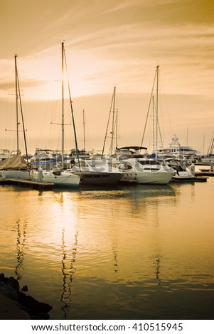 yatch park at pier in evening - stock photo