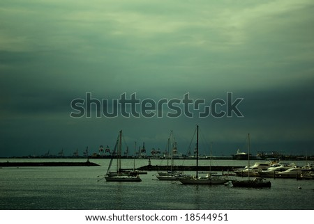 Yatchs on Green Bay - stock photo