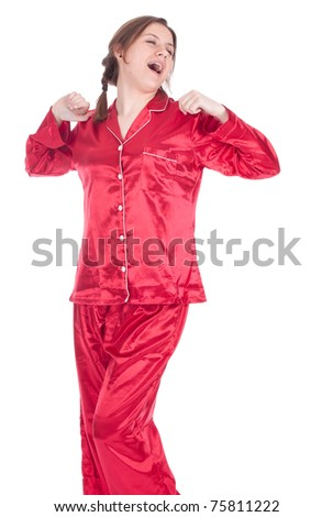 yawning and stretching young woman in red pajamas, series - stock photo