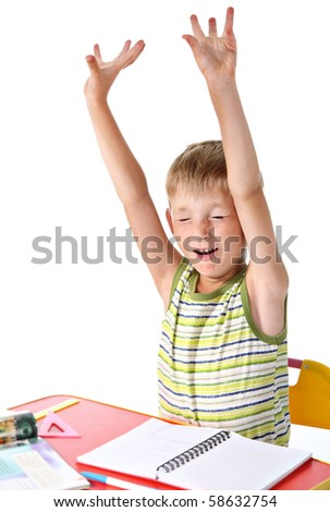 Yawning schoolboy - stock photo