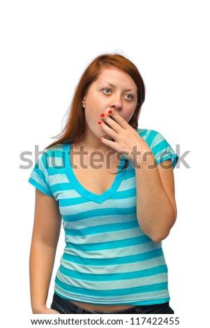 Yawning woman isolated on white background - stock photo