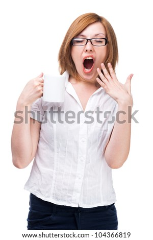 Yawning Woman, tiredness and fatigue - stock photo