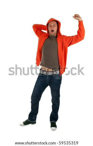 yawning young man in orange sweatshirt with raised hand