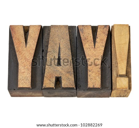 yay exclamation - approval, congratulation, or triumph concept -isolated text in vintage letterpress wood type - stock photo