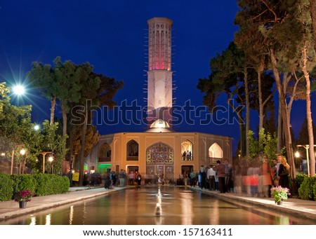 YAZD, IRAN - March 27: Illuminated Pavilion of Dolatabad on March 27, 2012 in Yazd, Iran.This garden is a famous landmark and its pavilion is renowned for having world'??s tallest badgir (Windcatcher) - stock photo