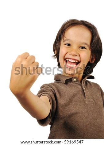 Yeah! I am the winner! Successful boy - stock photo
