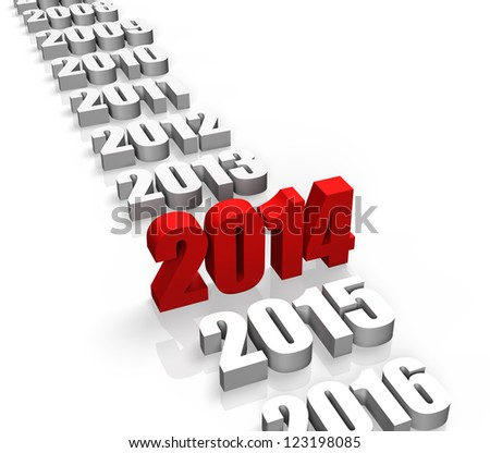 Year 2014 and other years behind and front - stock photo