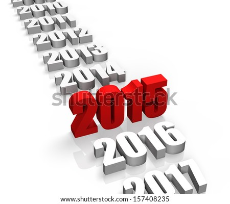 Year 2015 and other years behind and front - stock photo