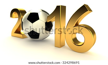 Year 2016 and soccer ball on the white background - stock photo