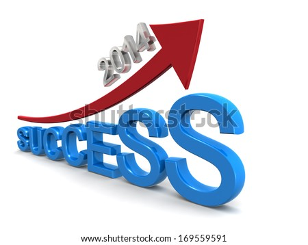 Year 2014 business success concept arrow pointing up with success