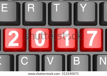 Year 2017 button on modern computer keyboard image with hi-res rendered artwork that could be used for any graphic design.
