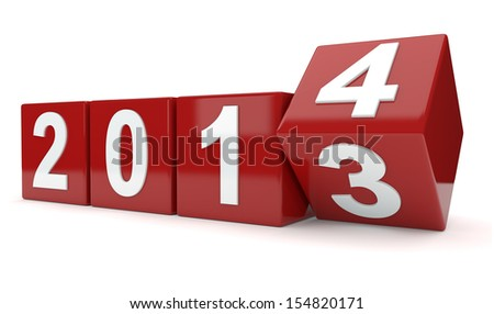 year 2013 changes to 2014  - stock photo