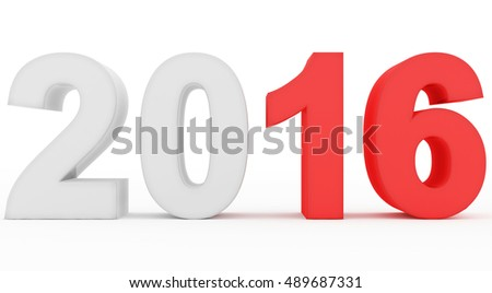 year 2016 count - 3d rendering