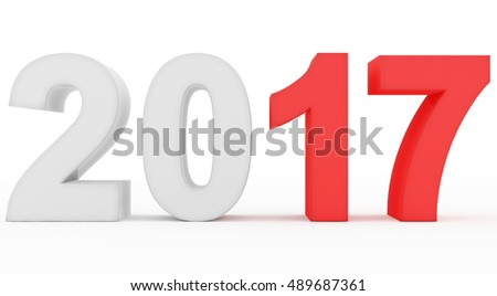 year 2017 count - 3d rendering