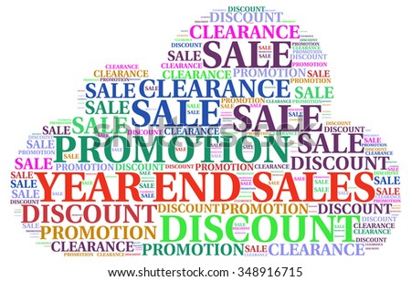 YEAR END SALE. Word collage on white background. Illustration with different association terms.
