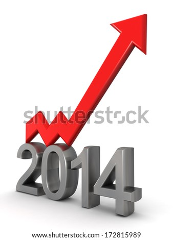 Year 2014 financial growth concept an arrow pointing up 3d illustration - stock photo