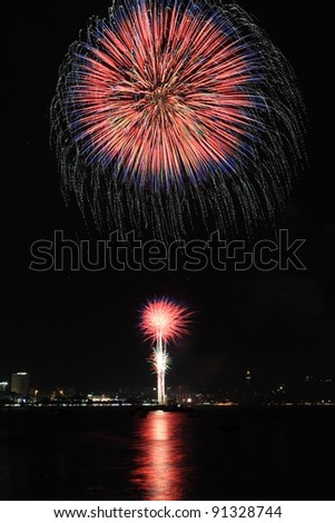 Year 2011 Firework Competition, Pattaya Thailand - stock photo