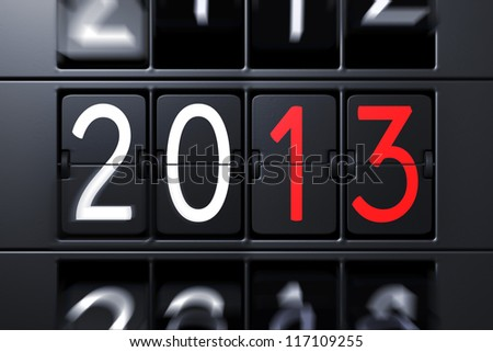 Year 2013 Flipping Panel - stock photo