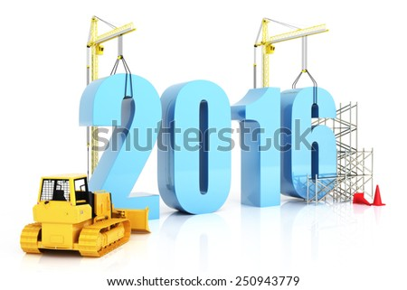 Year 2016 growth, building, improvement in business or in general concept in the year 2016, on a white background - stock photo