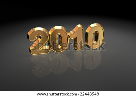 Year 2010 Illustration in gold. - stock photo