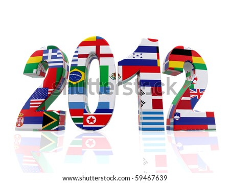 Year 2012 in 3D with flags from different countries - isolated over a white background