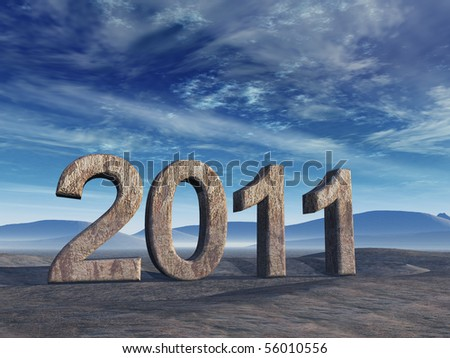 Year 2011 in stone numerals with surreal blue sky.