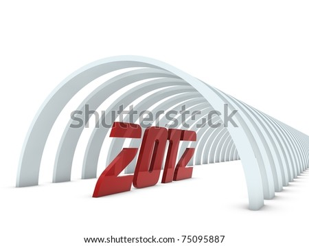 year 2012 in tunnel - stock photo
