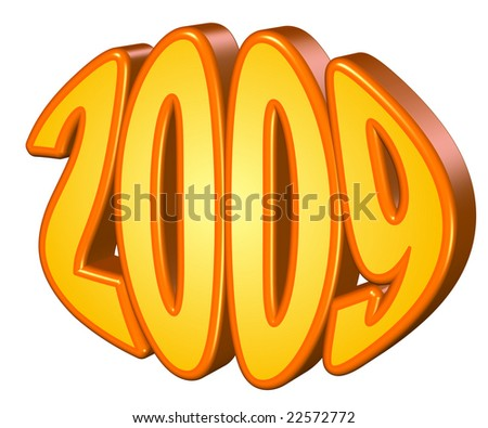 Year 2009 in yellow and red - stock photo