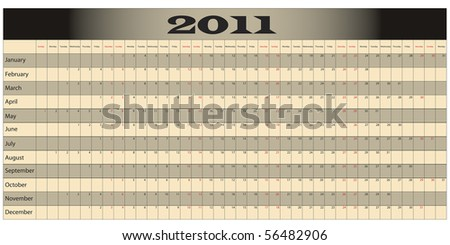 Year Long Calendar with weekends highlighted in red - stock photo