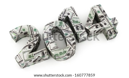 Year 2014 made from dollar banknotes on white background