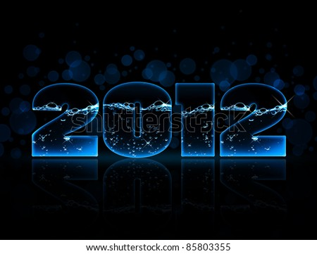Year 2012 made with water wave alphabet in dark - stock photo