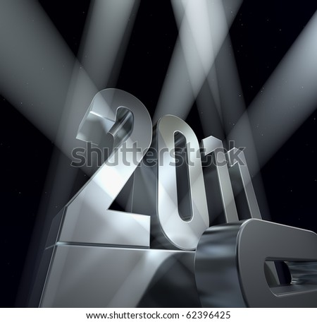 Year 2011 Number 2011 on a silvery pedestal - stock photo