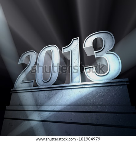 Year 2013  Number 2013 on a silvery pedestal at a black background - stock photo