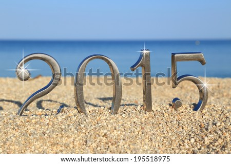 Year 2015 number on the beach - stock photo