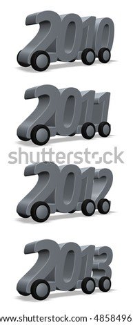 year numbers on wheels - 3d illustration - stock photo