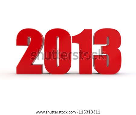 year of 2013 red figures - stock photo