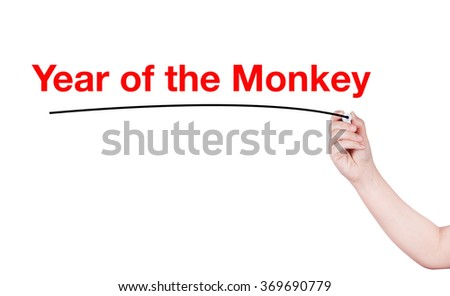 Year of the monkey write on white background by man hand holding highlighter pen
